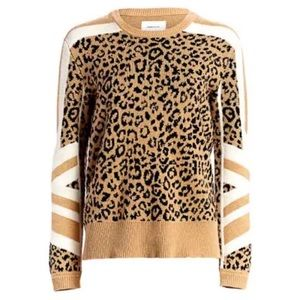 Current Elliot Leopard Cashmere Wool Sweater NWT